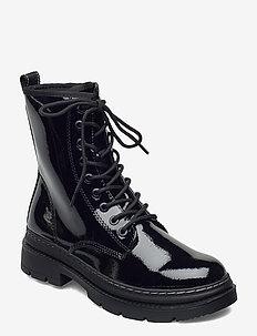 Woms Boots - flade ankelstøvler - black patent