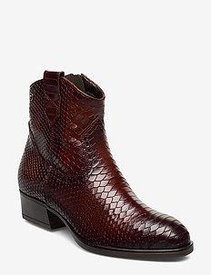 Woms Boots - ankelstøvletter med hæl - cognac