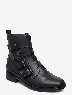 Woms Boots - platta ankelboots - black
