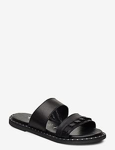 Woms Slides - flate sandaler - black leather