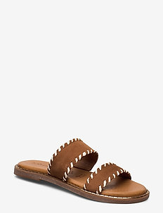 Woms Slides - platte sandalen - cognac