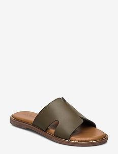 Woms Slides - flate sandaler - khaki