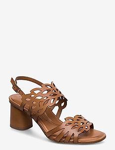 Woms Sandals - høyhælte sandaler - cognac