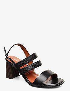 Woms Sandals - højhælede sandaler - blk lea/snake