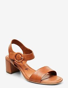 Woms Sandals - sandalen mit absatz - cognac leather