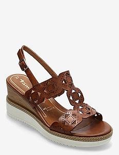 Woms Sandals - sandalen mit absatz - cognac