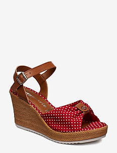 Woms Sandals - RED DOTS/COGN.