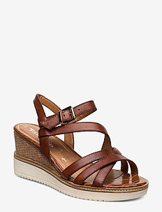 Woms Sandals - wedges - brandy