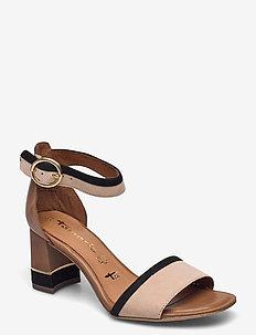 Woms Sandals - sandalen met hak - cognac comb