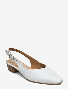 Woms Sling Back - WHITE LEATHER