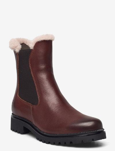 Woms Boots - chelsea støvler - maroon/fur