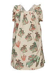 Ruffles Dress multi-animal - BEIGE