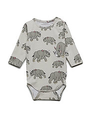Wrap Baby Body multi-animal NOSHÖRNINGEN - LIGHT GREY