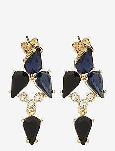 MEAGAN - statement earrings - pale gold/navy/black