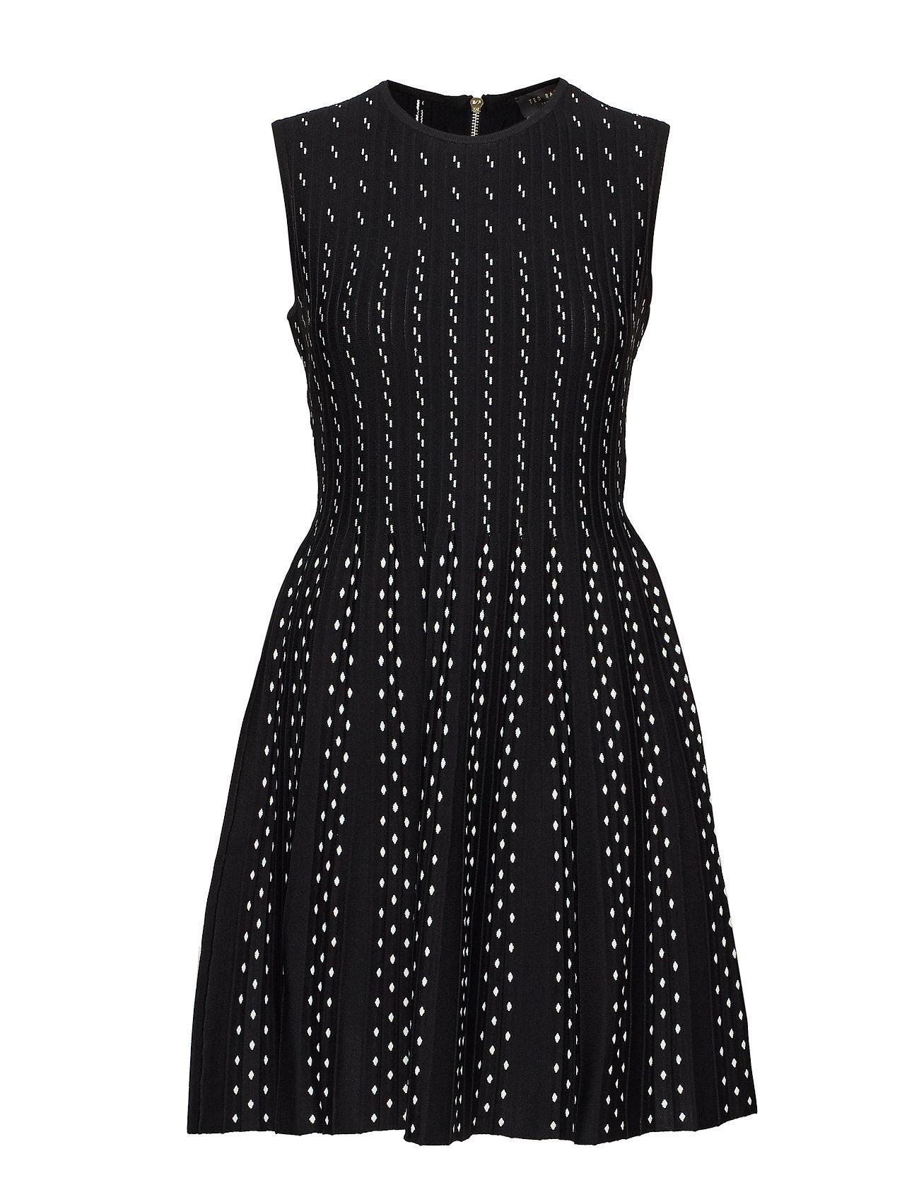 TED BAKER Caren Contrast Stitch Knitted Dress Kurzes Kleid Schwarz TED BAKER