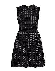 CAREN CONTRAST STITCH KNITTED DRESS - BLACK