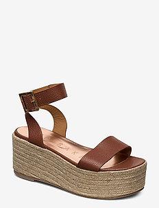 LENISA - espadrilles med hæl - lt-brown