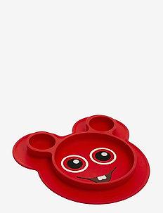 Babblarna- Silicone plate Bobbo - tallerkener & skåler - red