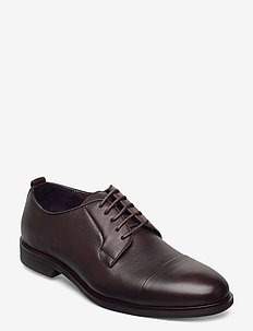 Laced derby shoe with toecap - snøresko - brown