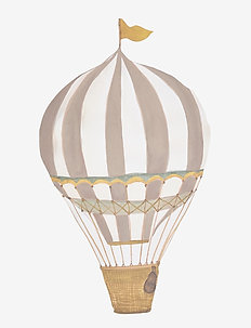 Retro air balloon small brown - wandtatoos - brown