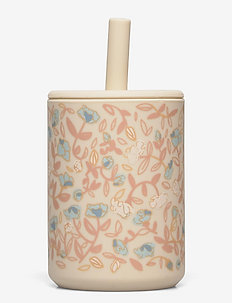 Cup with straw silicone - Mini flower blue - schnabeltassen - mini flower blue