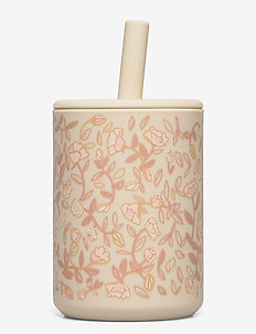 Cup with straw silicone - Mini flower rose - gobelets à bec - mini flower rose