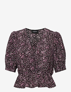 TOP - kortærmede bluser - black / pink