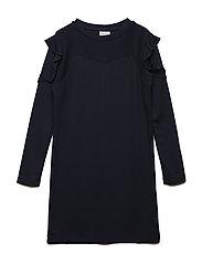 INES L_S DRESS - BLACK IRIS