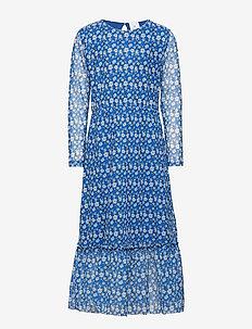 BLUE AOP L_S MESH DRESS - LIMOGES