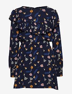 MIZA L_S DRESS - BLACK IRIS