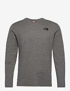 M L/S RED BOX TEE - långärmade t-shirts - tnf medium grey heather