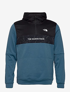 M TRAIN N LOGO 1/4 ZIP HOODIE - sweats basiques - mallard blue/tnf black