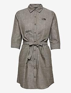 W BERNINA DRESS - sommerkjoler - new taupe green chambray