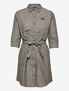 W BERNINA DRESS - robes d'été - new taupe green chambray