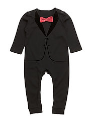 The Velvet Tuxedo Black Red Bow - ALL BLACK