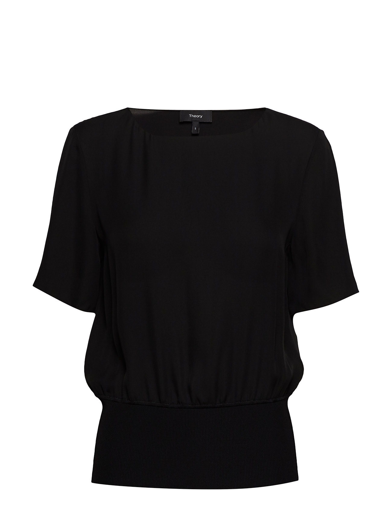 Theory SS RIB WB TOP.SILK C - 001.BLACK