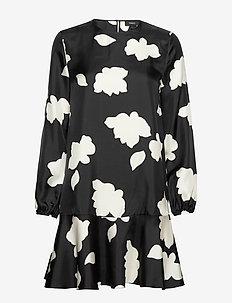 FLARED DRESS.PETAL S - do kolan & midi sukienki - black