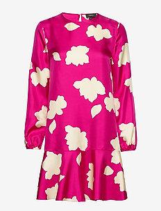 FLARED DRESS.PETAL S - do kolan & midi sukienki - magenta