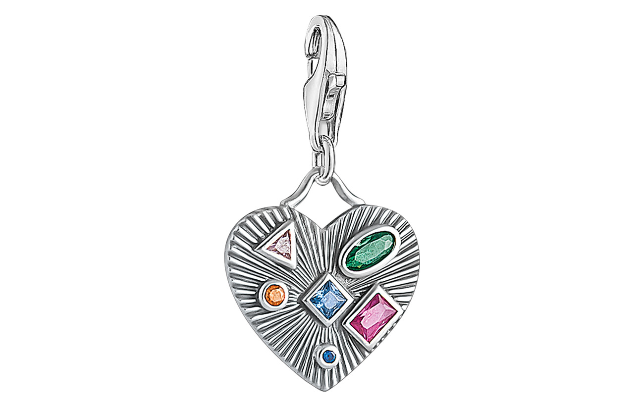 Thomas Sabo Charm pendant Heart colourful stones - SILVER