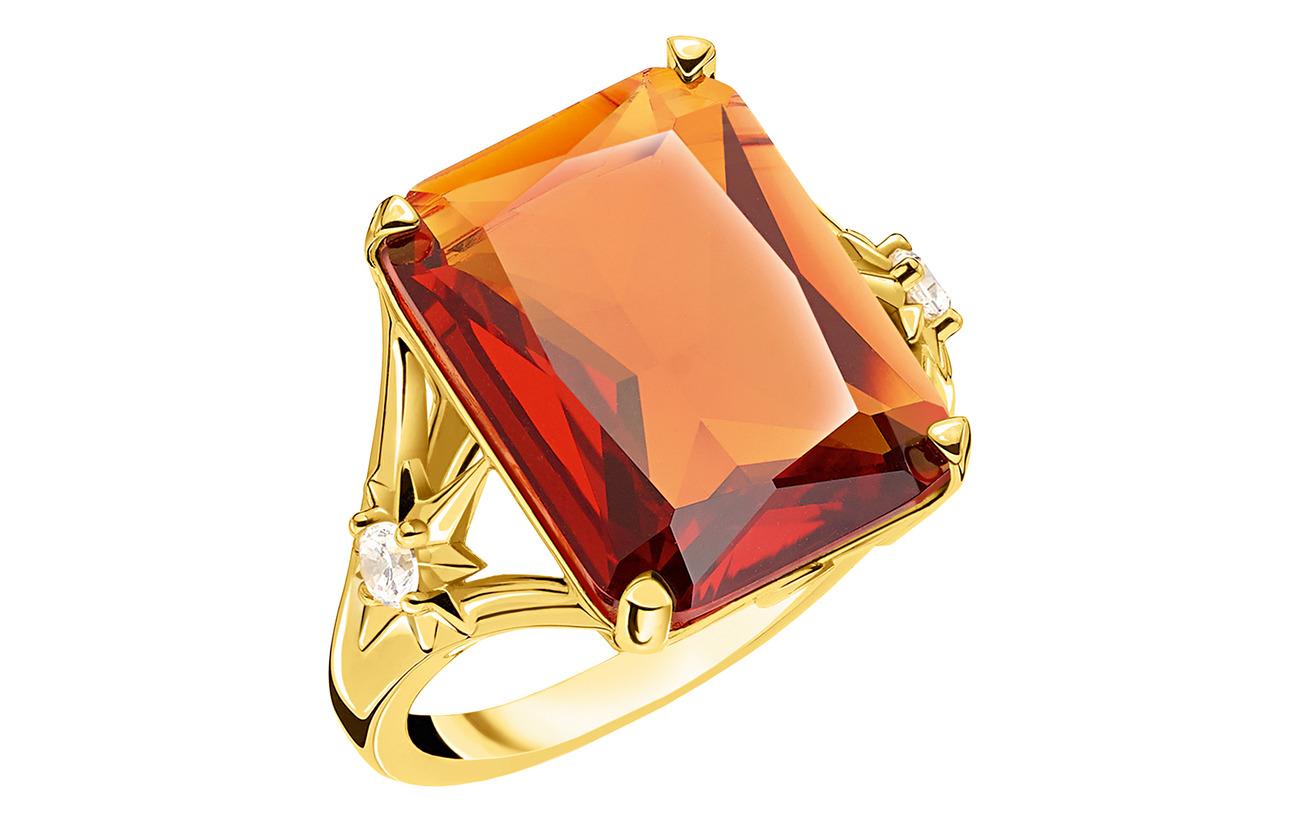 Thomas Sabo Ring Orange stone,  large,  with star - ORANGE