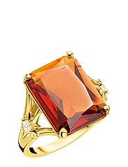 Ring Orange stone,  large,  with star - ORANGE