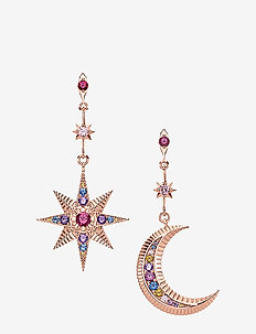 earRings Royalty Star & Moon - pendant - pink