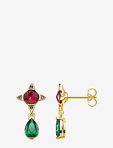 earRings Green drop with red stone - hängande örhängen - gold