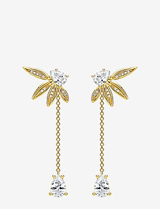Ear Studs  Leaves with chain gold - nappikorvakorut - yellow gold-coloured