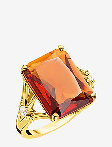 Ring Orange stone,  large,  with star - ORANGE