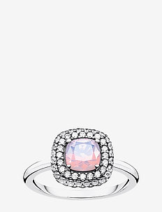 Ring Shimmering pink opal colour effect - SILVER-COLOURED