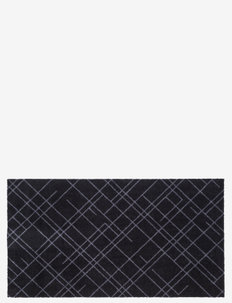 Floormat polyamide, 120x67 cm, leaves design - huonekalut eteiseen - black/grey