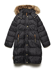 Long coat down Martha with detachable hood - JET BLACK