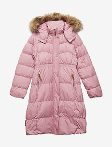 Long coat down Martha with detachable hood - puffer & padded - wild rose