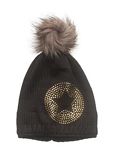 Bobble Knit Hat - CAVIAR